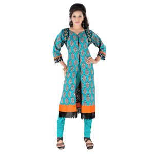 Vedik Style Womens Printed Sky Blue Cotton Kurti With 3/4th Sleeves(code - Jdh1519)