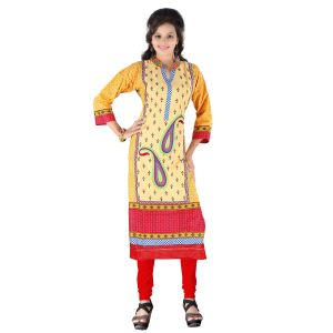 Vedik Style Womens Calf Length Yellow Cotton Printed Kurti(code - Jdh1520)