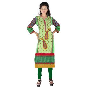 Vedik Style Womens Green Cotton Kurti Featuring 3/4th Sleeves(code - Jdh1521)