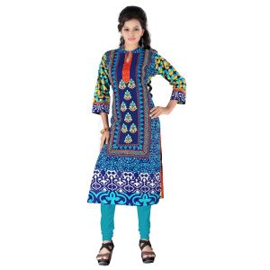 Vedik Style Womens Calf Length Blue Cotton Kurti With 3/4th Sleeves(code - Jdh1522)