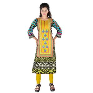 Vedik Style Womens Straight Calf Length Cotton Kurti With Side Slits(code - Jdh1523)