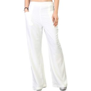 Vedik Style Womens Solid White Regular Fit Palazzos(code-pz0101-ow)