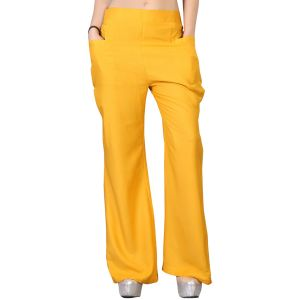 Vedik Style Womens Solid Yellow Regular Fit Palazzos(code-pz0103-y)