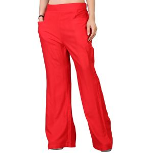Vedik Style Womens Solid Red Regular Fit Palazzos(code-pz0104-r)