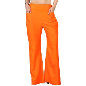Vedik Style Womens Solid Orange Regular Fit Palazzos(code-pz0107-o)