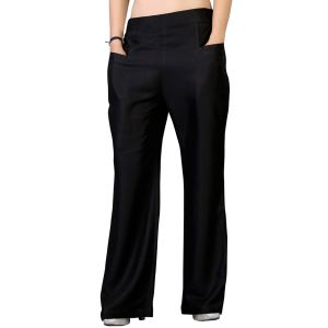 Vedik Style Womens Solid Black Regular Fit Palazzos(Code-PZ0108-BL)