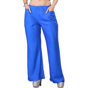 Vedik Style Womens Solid Royal Blue Regular Fit Palazzos(code-pz0110-rb)