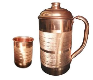 Kitchen storage & containers - Handmade pure Copper Pitcher Jug and copper water glass set