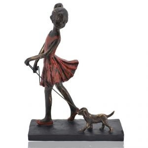 Girl With Doggy On Walk Polyresin Home Decoration Show Piece