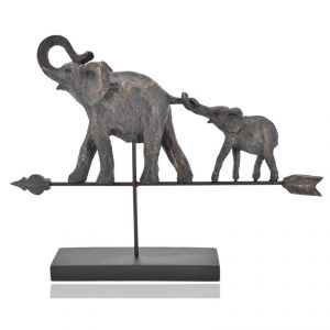 Antique Elephant With Baby On Metal Arrow And Polyresin Stand Home Decoration Show Piece