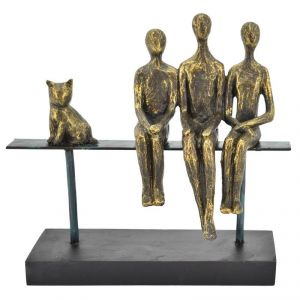 Antique Look Family With Cat Sitting On Metal Stand Home Decoration Show Piece