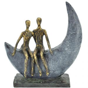 Antique Look Couple Sitting On Polyresin Moon Stand Home Decoration Show Piece