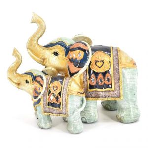 Colored Elephant With Baby Polyresin Home Decoration Show Piece