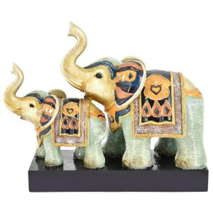 Colored Two Elephants On Polyresin Stand Home Decoration Show Piece