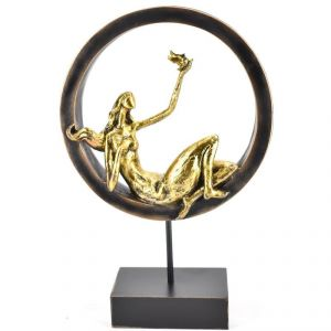 Modern Art Lady With Bird On Polyresin Stand Home Decoration Show Piece
