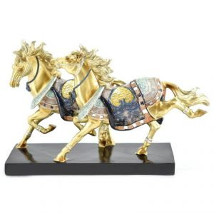 Colored Two Horses Polyresin Home Decoration Show Piece