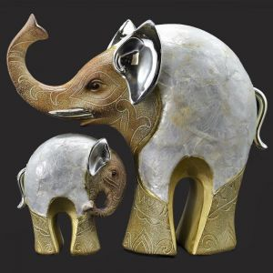 Set Of Two Elephant With Baby Polyresin Home Decoration Show Piece