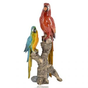 Two Ceramic Parrot Home Decoration Show Piece - Red/blue