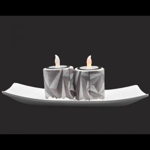 Set Of 2 LED Ceramic Candle Holder For Home Dcor