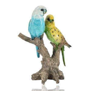 Polyresin Parrot Pair Home Decoration Show Piece - Blue/yellow