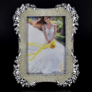 Silver Flower Pattern Glass Photo Frame Size - 5x7 (13x18cm)