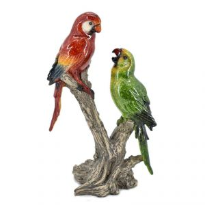 Polyresin Parrot Pair Pair Home Decoration Show Piece - Red/Green