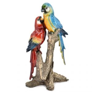 Polyresin Parrot Pair Pair Home Decoration Show Piece - Blue/Red