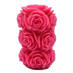 Rose Shaped Wax Candle In Red
