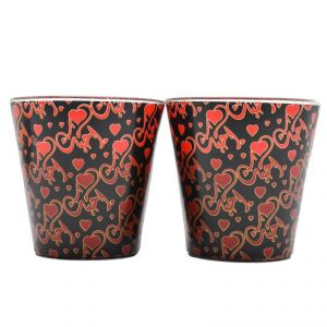 Set Of 2 Heart Print Wax Candle In Glass Holder - Red/black