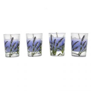 Set Of 4 Heart Print Wax Candle In Glass Holder - Purple