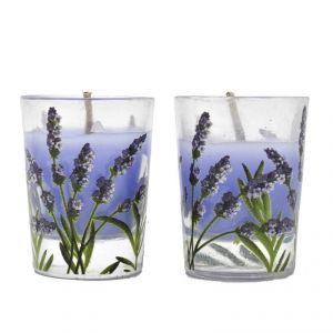 Set Of 2 Heart Print Wax Candle In Glass Holder - Purple