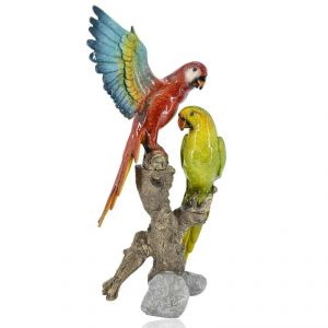 Polyresin Parrot Pair Home Decoration Show Piece - Red/green