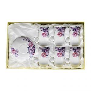 Ceramic Cup & Saucer Set (Set Of 6) - Floral Print