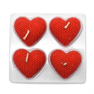Heart Shaped Wax Candle In Red