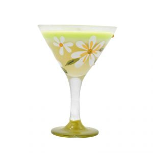 Decorative Wax Candle In Wine Glass - Green