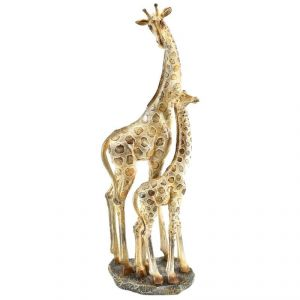 Mother And Baby Giraffe Natural Shiny Home Decoration Show Piece