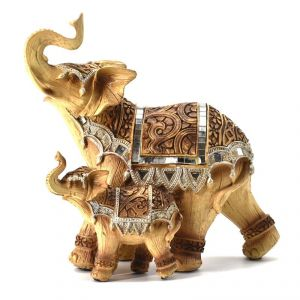 Antique Elephant With Baby Polyresin Home Decoration Show Piece