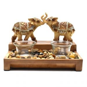 Candle Holder With Two Elephants Polyresin Home Decoration Show Piece