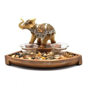 Candle Holder With Elephants Polyresin Home Decoration Show Piece