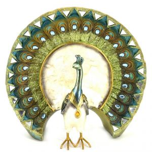 Two Toned Finish Peacock Mother Of Pearl Home Decoration Show Piece