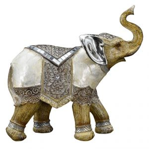 Three Combination Elephant Decorated Mother Of Pearl Home Decoration Show Piece