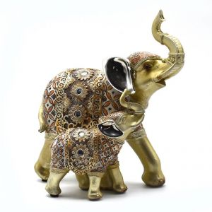Antique Elephant With Baby Home Decoration Show Piece