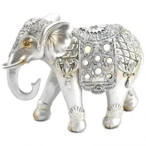Silver Designed Elephant Home Decoration Show Piece