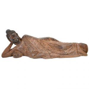 Sleeping Wooden Buddha Home Decoration Show Piece