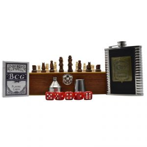 Jack Daniels Stainless Steel Hip Flask Set - 1 Hip Flask (8oz), 1 Short Glass, 5 Dice, 1 Playing Cards Set & 1 Funnel In Wooden Chess Box