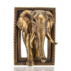 Wall Hanging Polyresin Elephant Home Decoration - Golden