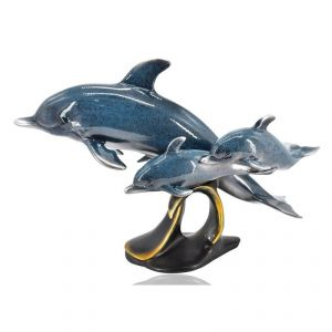 Antique Polyresin Dolphin Home Decoration Show Piece - Blue
