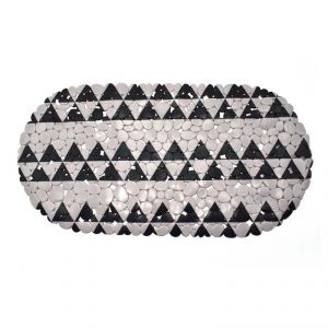 Bathlux Bathroom Experts Pvc Bath Mat (69 X 35cm) - Black Triangle Print