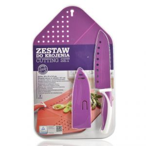 Kitchen Foldable Chopping Board With Knife Set - Purple