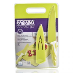 Kitchen Chopping Board With Knife Set - Lemon Green